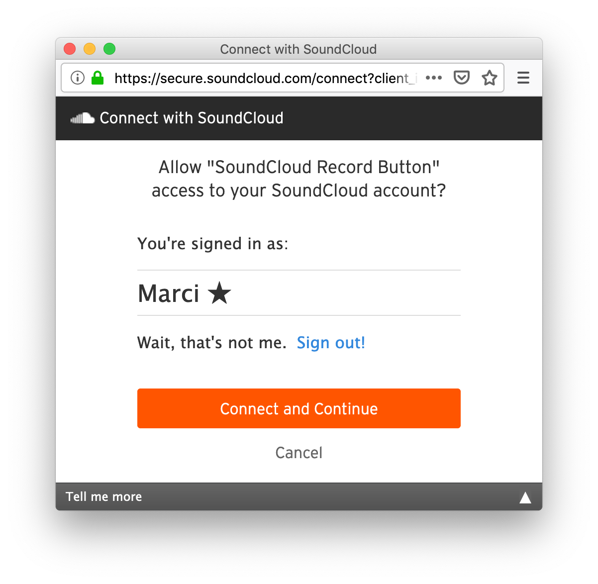 screenshot of SoundCloud Connect