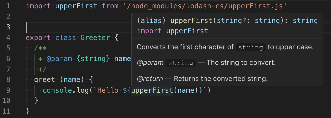 Screenshot of Visual Studio Code showing typed upperFirst function